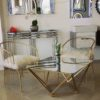 Fur chairs with glass table
