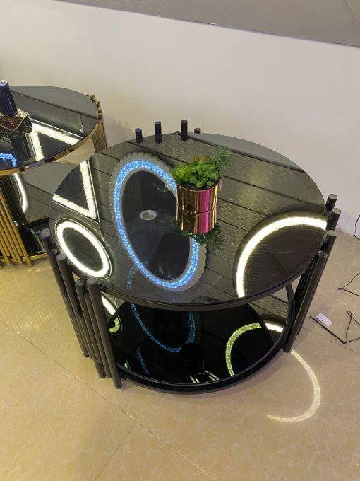 Steel Table Black with Glass